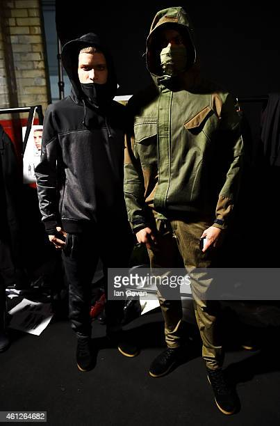 Models backstage ahead of the Maharishi show at the London Collections Men AW15 at The Old Sorting Office on January 10 2015 in London England