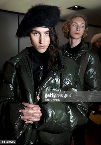 Models backstage ahead of the Maison MIHARA YASUHIRO during London Fashion Week Men's January 2017 collections at Barbican Centre on January 8 2017...