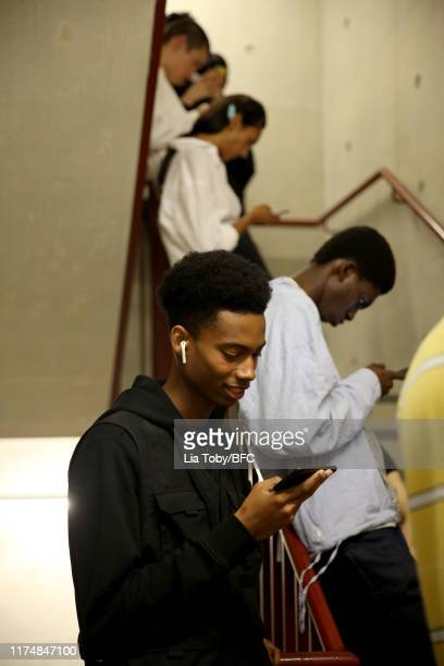 Models backstage ahead of the Margaret Howell show during London Fashion Week September 2019 at Rambert on September 15 2019 in London England