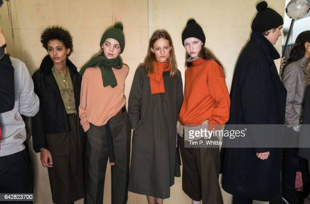 Models backstage ahead of the Margaret Howell show during the London Fashion Week February 2017 collections at Rambert on February 19, 2017 in...