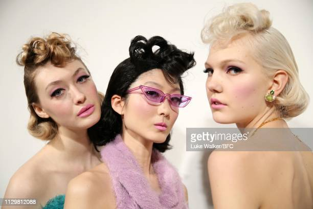 Models backstage ahead of the Mark Fast show during London Fashion Week February 2019 at the BFC Show Space on February 15 2019 in London England
