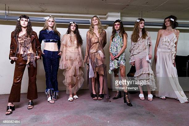 Models backstage ahead of the Marques'Almeida show during London Fashion Week Spring/Summer 2016 on September 22, 2015 in London, England.