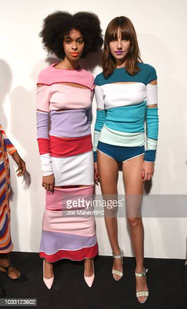 Models backstage ahead of the Marta Jakubowski Show during London Fashion Week September 2018 at The BFC Show Space on September 14 2018 in London...