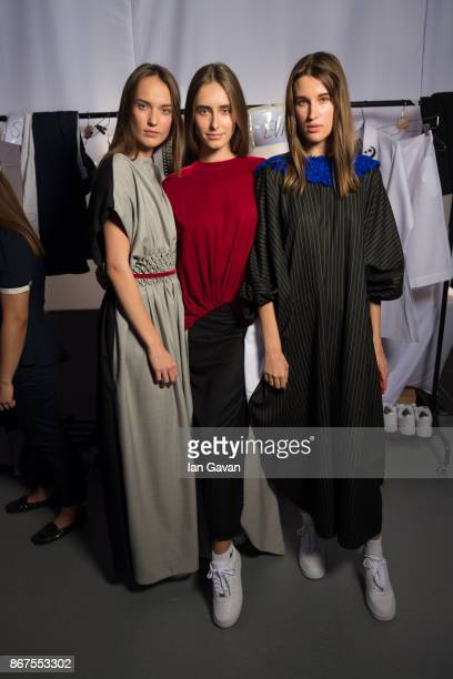 Models backstage ahead of the Mashael show during Fashion Forward October 2017 held at the Dubai Design District on October 28 2017 in Dubai United...
