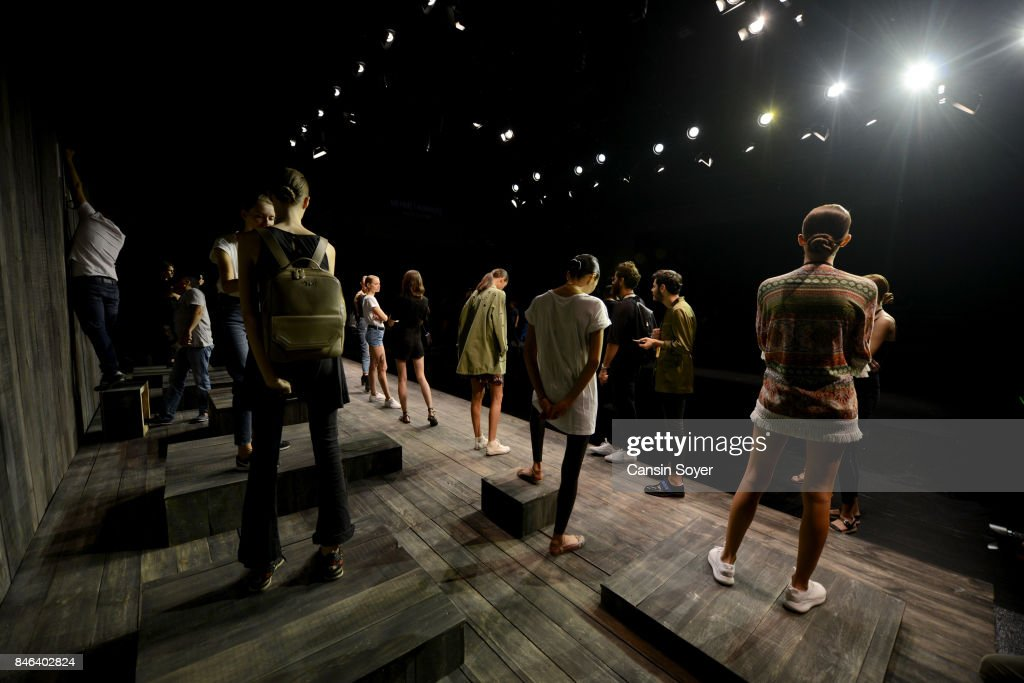 Models backstage ahead of the Mehmet Korkmaz show during Mercedes-Benz Istanbul Fashion Week September 2017 at Zorlu Center on September 13, 2017 in Istanbul, Turkey.