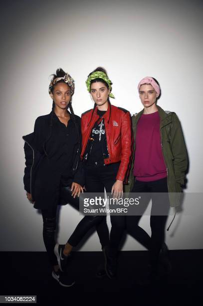 Models backstage ahead of the Minki show during London Fashion Week September 2018 at The BFC Show Space on September 16, 2018 in London, England.