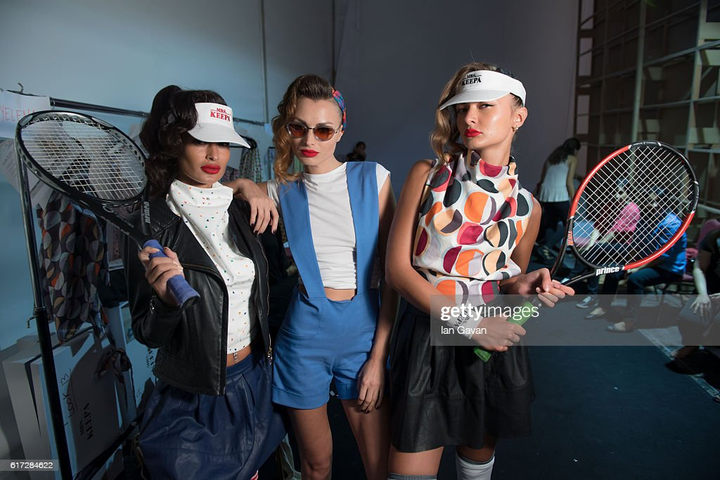 Models backstage ahead of the Mrs. Keepa presentation during Fashion Forward Spring/Summer 2017 at the Dubai Design District on October 22, 2016 in Dubai, United Arab Emirates.