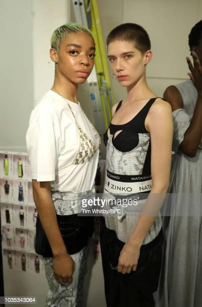 Models backstage ahead of the Natasha Zinkoi show during London Fashion Week September 2018 on September 18 2018 in London England