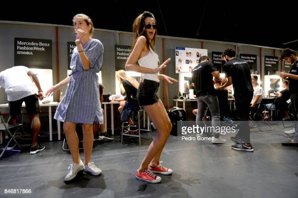 Models backstage ahead of the New Gen show during Mercedes-Benz Istanbul Fashion Week September 2017 at Zorlu Center on September 14, 2017 in...