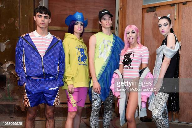 Models backstage ahead of the Nicopanda show during London Fashion Week September 2018 on September 14, 2018 in London, England.