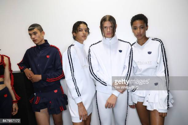 Models backstage ahead of the Nicopanda show during London Fashion Week September 2017 on September 16, 2017 in London, England.