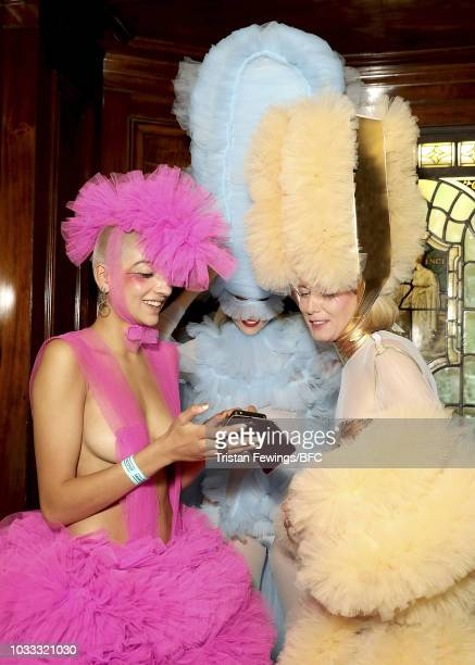 Models backstage ahead of the Pam Hogg Show during London Fashion Week September 2018 at the Freemasons Hall on September 14 2018 in London England