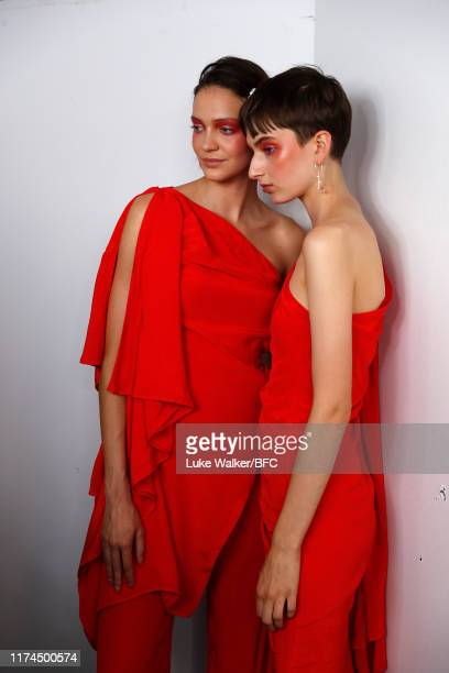 Models backstage ahead of the Paula Knorr show during London Fashion Week September 2019 at the on September 13, 2019 in London, England.