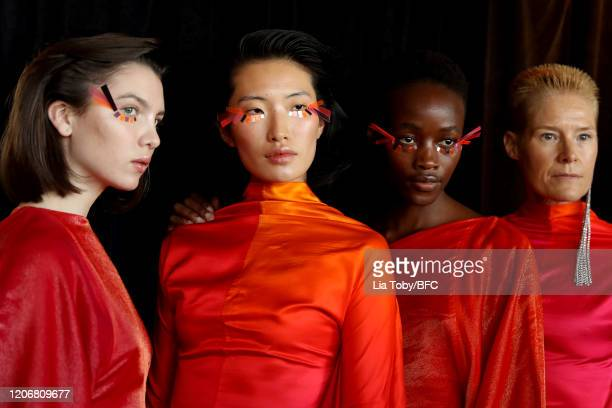 Models backstage ahead of the Paula Knorr show during London Fashion Week February 2020 on February 17, 2020 in London, England.