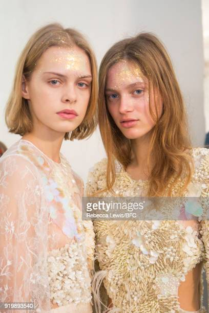Models backstage ahead of the Preen by Thornton Bregazzi show during London Fashion Week February 2018 at on February 18 2018 in London England