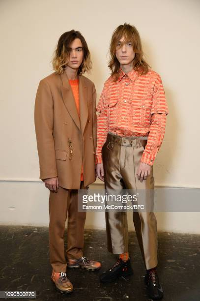 Models backstage ahead of the Private Policy Presented by GQ China show during London Fashion Week Men's January 2019 at the BFC Show Space on...