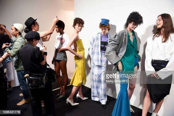 Models backstage ahead of the pushBUTTON show during London Fashion Week September 2018 at the BFC Show Space on September 18 2018 in London England