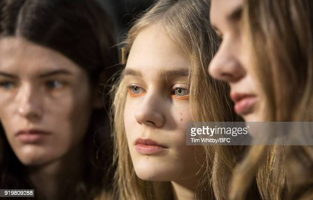 Models backstage ahead of the REJINA PYO show during London Fashion Week February 2018 at 6 Burlington Gardens on February 18 2018 in London England