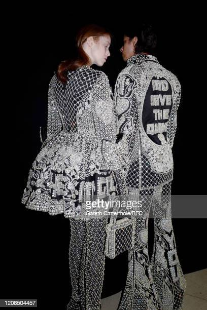 Models backstage ahead of the Richard Quinn show during London Fashion Week February 2020 on February 15, 2020 in London, England.