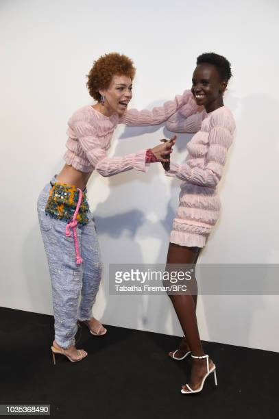 Models backstage ahead of the Roberta Einer show during London Fashion Week September 2018 on September 18, 2018 in London, England.