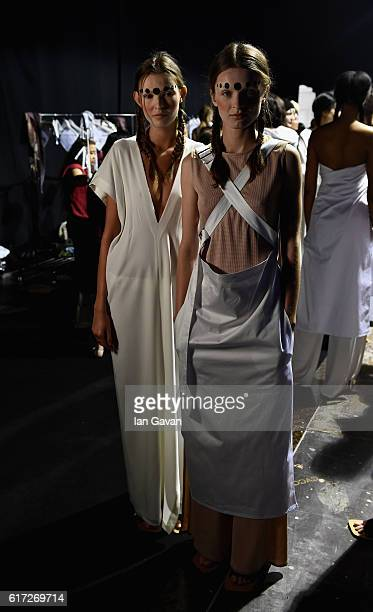 Models backstage ahead of the Salta show during Fashion Forward Spring/Summer 2017 at the Dubai Design District on October 22 2016 in Dubai United...