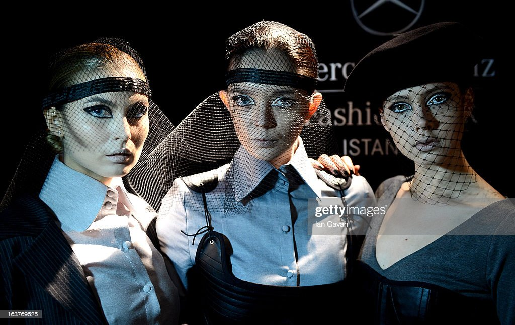Models backstage ahead of the Selma State show during Mercedes-Benz Fashion Week Istanbul Fall/Winter 2013/14 at Antrepo 3 on March 15, 2013 in Istanbul, Turkey.