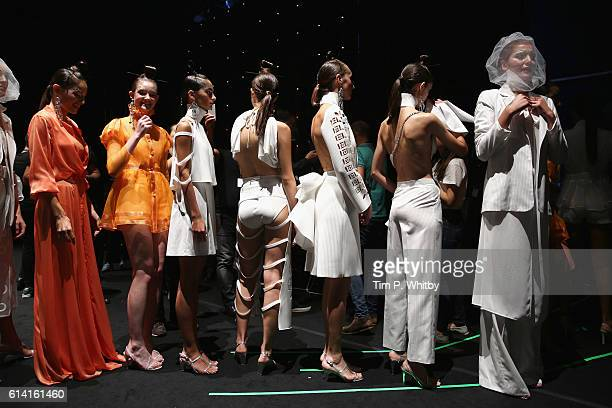 Models backstage ahead of the Selma State show during MercedesBenz Fashion Week Istanbul at Zorlu Center on October 12 2016 in Istanbul Turkey