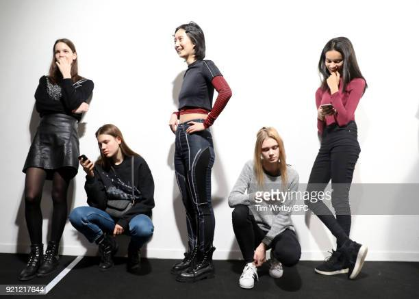 Models backstage ahead of the Teatum Jones show during London Fashion Week February 2018 at BFC Show Space on February 20, 2018 in London, England.