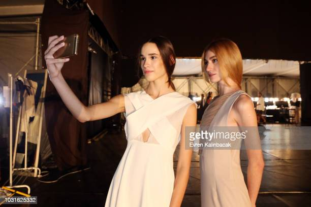 Models backstage ahead of the Urun show during the MercedesBenz Istanbul Fashion Week on September 11 2018 in Istanbul Turkey
