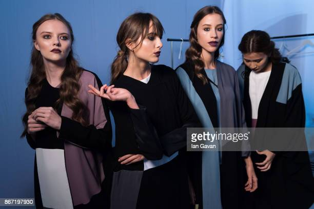 Models backstage ahead of the Utruj Presentation during Fashion Forward October 2017 held at the Dubai Design District on October 27 2017 in Dubai...