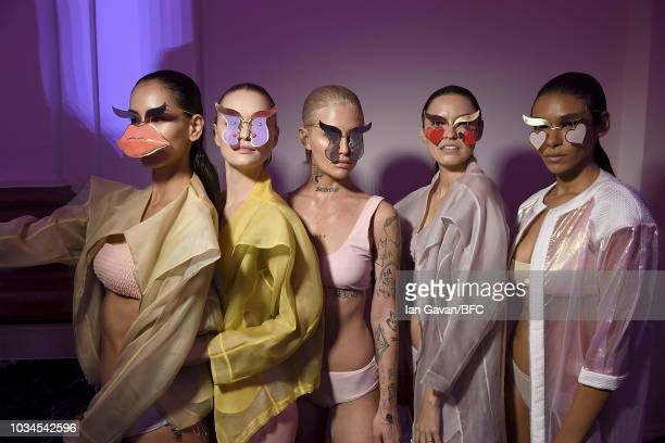 Models backstage ahead of the Victor Wong show during London Fashion Week September 2018 at the on September 16 2018 in London England
