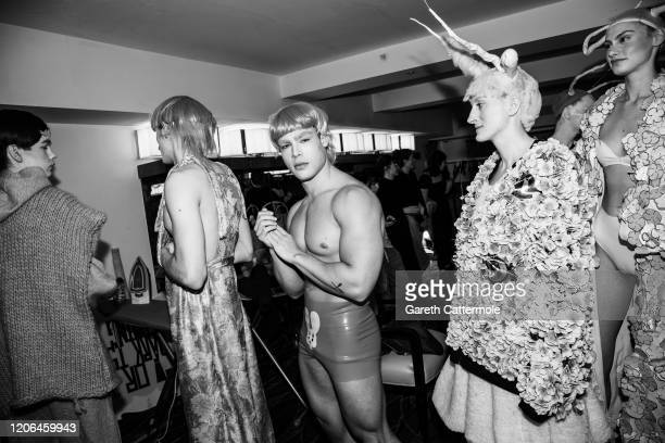Models backstage ahead of the VIN OMI show at The Savoy Hotel on February 14 2020 in London England