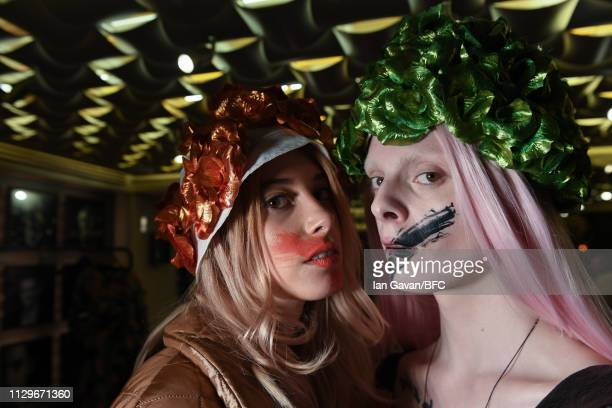 Models backstage ahead of the VIN OMI show during London Fashion Week February 2019 on February 14 2019 in London England