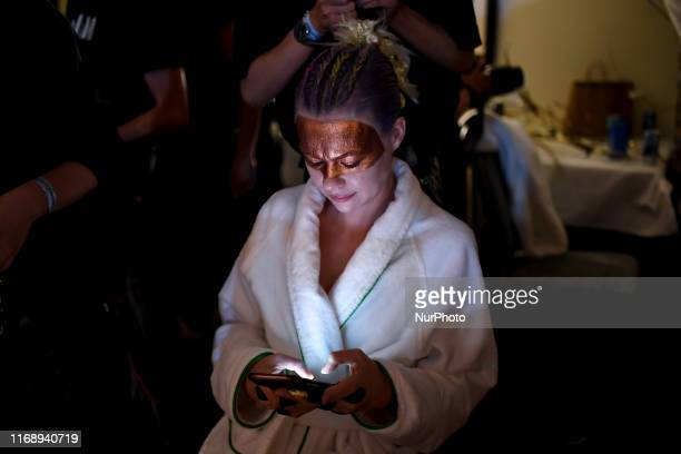 Models backstage ahead of the VIN + OMI show during London Fashion Week September 2019, London, September 17, 2019.