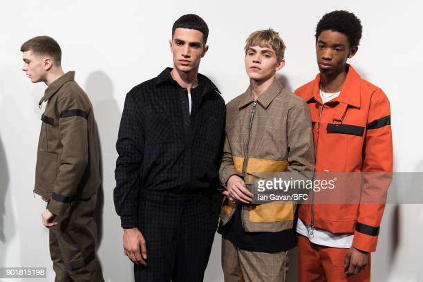 Models backstage ahead of the What We Wear show during London Fashion Week Men's January 2018 at BFC Show Space on January 6 2018 in London England