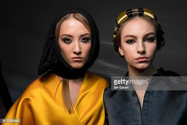 Models backstage ahead of the Zaid Farouki presentation during Fashion Forward Spring/Summer 2017 at the Dubai Design District on October 22 2016 in...
