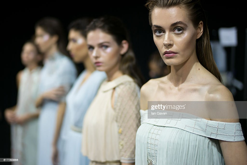 Models backstage ahead of the Zareena presentation during Fashion Forward Spring/Summer 2017 at the Dubai Design District on October 22, 2016 in Dubai, United Arab Emirates.