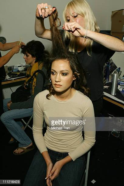 Models backstage and frontrow at Coco Johnsen Spring 2008 collection during Los Angeles Mercedes Benz Fashion Week at Smashbox Studios on October 15...
