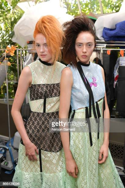 Models backstage at CFDA/Vogue Fashion Fund Show and Tea at Chateau Marmont at Chateau Marmont on October 25 2017 in Los Angeles California