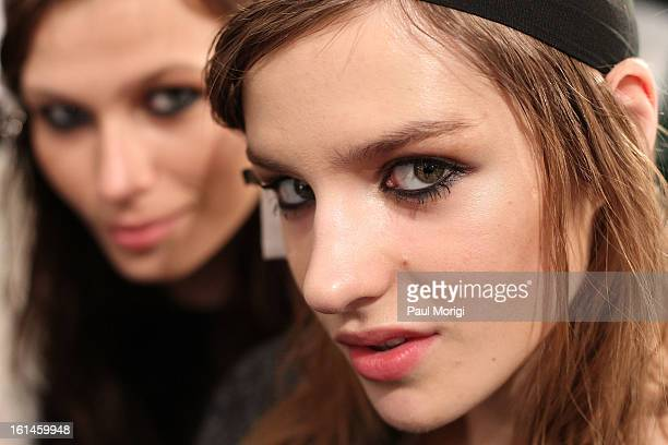 Models backstage at ICB By Prabal Gurung during Fall 2013 Mercedes-Benz Fashion Week at The Studio at Lincoln Center on February 11, 2013 in New York...