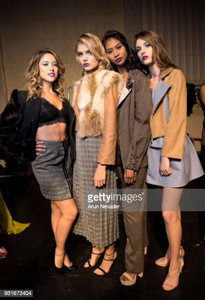 Models backstage at Los Angeles Fashion Week Powered by Art Hearts Fashion LAFW FW/18 10th Season Anniversary Backstage and Front Row Day 2 at The...