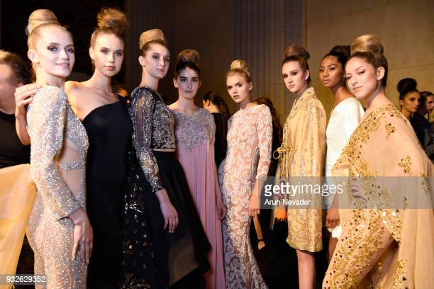 Models backstage at Los Angeles Fashion Week Powered by Art Hearts Fashion LAFW FW/18 10th Season Anniversary Backstage and Front Row Day 4 at The...