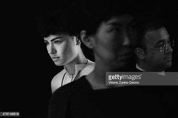 Models backstage at the Ayhan Yetgin show during MBFWI presented by American Express Fall/Winter 2014 on March 11 2014 in Istanbul Turkey