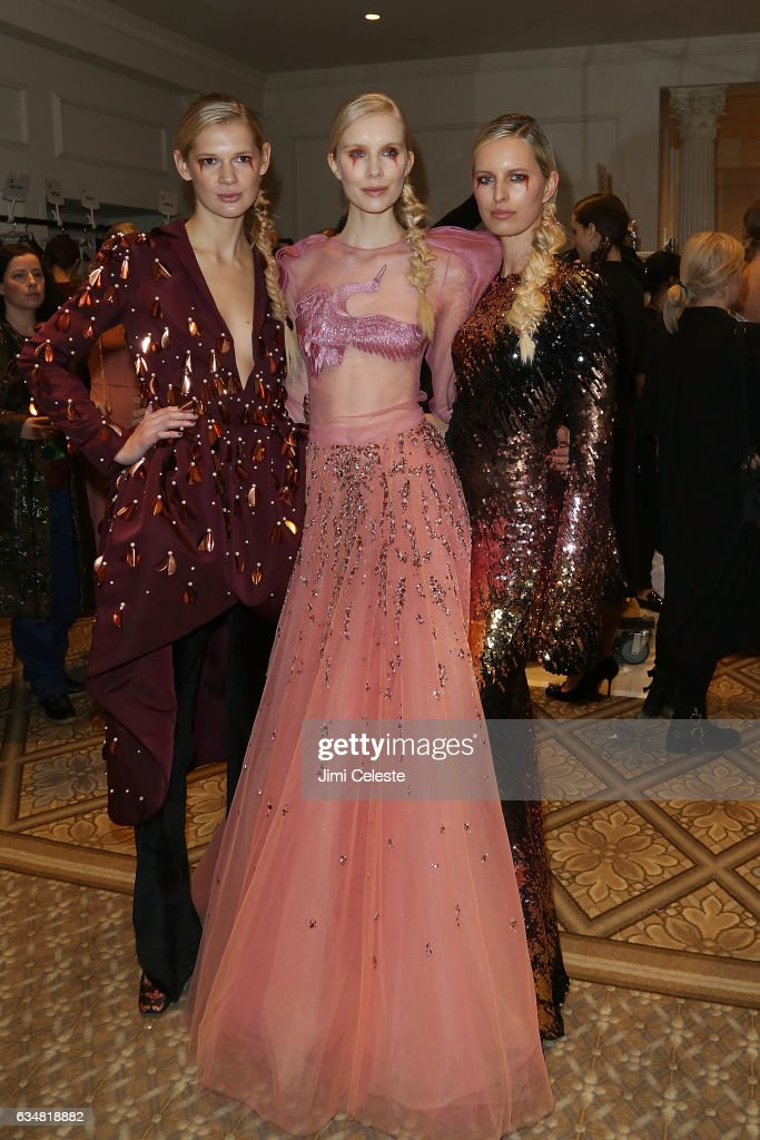 Models backstage at the Christian Siriano show during 2017 February New York Fashion Week in the Grand Ballroom at The Plaza Hotel on February 11, 2017 in New York City.