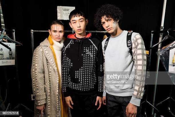 Models backstage at the Christopher Raeburn show during London Fashion Week Men's January 2018 at BFC Show Space on January 7 2018 in London England