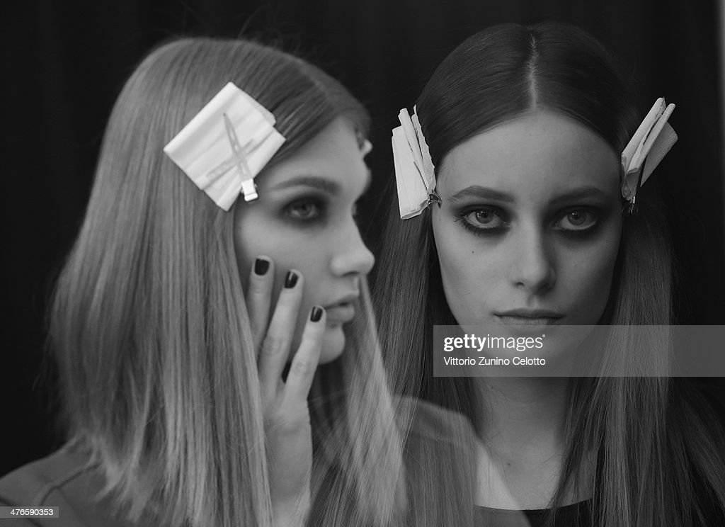 Models backstage at the Elie Saab show as part of the Paris Fashion Week Womenswear Fall/Winter 2014-2015 on March 3, 2014 in Paris, France.