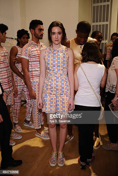 Models backstage at the Gustavo Carvalho fashion show during MercedesBenz Fashion Week Spring 2015 at Helen Mills Event Space on September 5 2014 in...