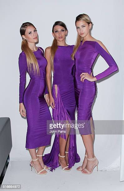 Models backstage at the HAMEL By Melina Harris At FUNKSHION Fashion Week Miami Beach at Studio 255 on March 19 2016 in Miami Florida