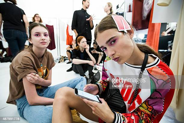 Models backstage at the Jill Stuart SS16 show as part of New York Fashion Week Spring Summer 2016 at Industria Studios on September 12 2015 in New...