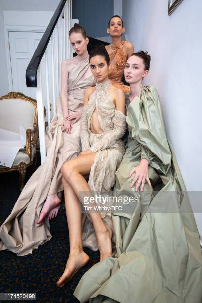 Models backstage at the KHYELI show during London Fashion Week September 2019 at the Khyeli Showroom on September 13 2019 in London England